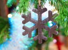 Christmas wooden snowflake Royalty Free Stock Photos