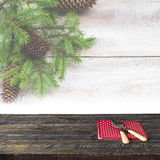 Christmas wooden table festive tableware Stock Image