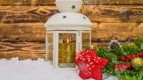 Christmas wooden table with New Year and Christmas decorations and beautiful snowfall, the concept of New Year`s stock video