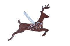 Christmas wooden toy deer. On a white background Stock Photos