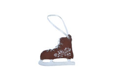 Christmas wooden toy -  figure skates. On a white background Stock Images