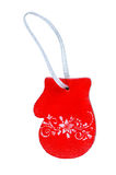 Christmas wooden toy-mitten. Isolated on white Stock Photos