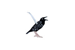 Christmas wooden toy - raven on a white. Background Stock Photography