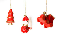 Christmas wooden toys decorations. Isolated on white Stock Photo