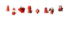 Christmas wooden toys decorations. Isolated on white Royalty Free Stock Photo