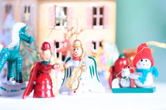Christmas wooden toys in decorative theater Royalty Free Stock Photography