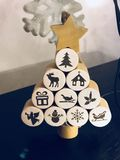 Christmas wooden tree icons star. Christmas tree wooden Royalty Free Stock Image