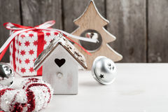 Christmas wooden vintage bird house Royalty Free Stock Image
