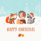 Christmas woodland friends in winter forest stock illustration