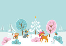 Christmas woodland landscape stock illustration