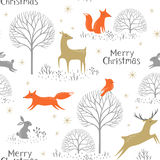 Christmas woodland pattern Royalty Free Stock Image