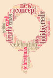 Christmas word cloud in Christmas wreath Royalty Free Stock Image