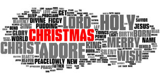 Christmas word cloud, red text. Christmas word cloud with red, black, and gray text on a white background Royalty Free Stock Image