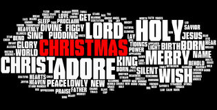 Christmas word cloud, red text. Christmas word cloud with white text on a black background Royalty Free Stock Photo