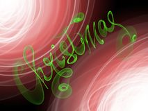 Christmas word lettering written with green fire flame or smoke on blurred bokeh background.  Royalty Free Stock Photos
