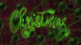 Christmas word lettering written with green fire flame or smoke on molecular hitech network background. 3d illustration.  Stock Photos