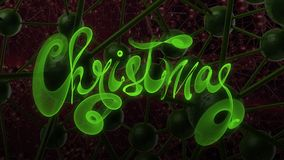 Christmas word lettering written with green fire flame or smoke on molecular hitech network background. 3d illustration.  Royalty Free Stock Photos