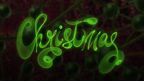 Christmas word lettering written with green fire flame or smoke on molecular hitech network background. 3d illustration.  Royalty Free Stock Images
