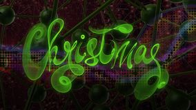 Christmas word lettering written with green fire flame or smoke on molecular hitech network background. 3d illustration.  Royalty Free Stock Photography