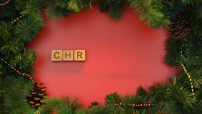 Christmas word made of cubes, waiting for december holiday, national celebration. Stock footage stock video