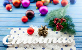 Christmas word and toys Royalty Free Stock Photography