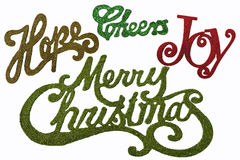 Christmas Words in Glitter and colors Stock Photos