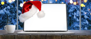 Christmas work place with panoramic view Royalty Free Stock Photography