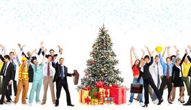 Christmas workers. Happy workers people and Christmas tree. Over white background