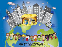 Christmas world. Illustration of nativity in a grey world but with lovely children Royalty Free Stock Photos