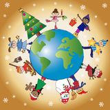 Christmas world with children. Christmas scene with happy children on the world Royalty Free Stock Photo