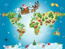 Christmas world. Illustration of world with santa claus and christmas objects Stock Photography