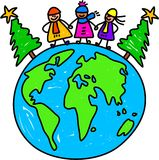 Christmas world kids. Happy little kids standing on the globe next to Christmas trees - toddler art series Royalty Free Stock Photography