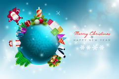 Christmas World. Vector Christmas world illustration. Christmas and new year greeting design template. Elements are layered separately in vector file Stock Photo