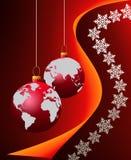 Christmas world wide. Christmas globe over snow flakes background stock illustration