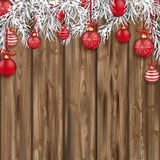 Christmas Worn Wood Baubles Twigs Stock Photography