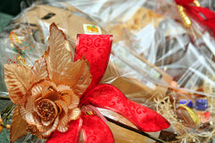 Christmas wrapped basket Royalty Free Stock Images