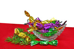 Christmas wrapped candies Stock Photo