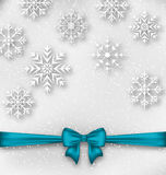 Christmas wrapping with bow ribbon and snowflakes Stock Photography