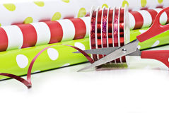 Christmas Wrapping Paper And Ribbon Stock Photos