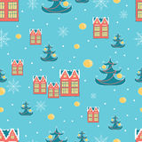 Christmas wrapping paper background with Dutch Houses, Christmas tree and Snow on retro blue background. Vector illustration. Stock Photography