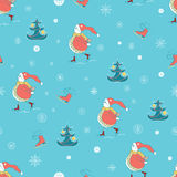 Christmas wrapping paper background with Snowman, Christmas tree and Skate on retro blue background. Vector illustration. Stock Images