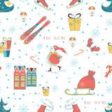 Christmas wrapping paper background with Snowman, Christmas tree and Skate on white background. Vector illustration. Stock Photo