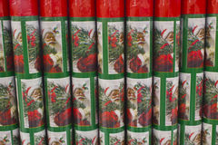 Christmas Wrapping Paper. On Display with Santa Claus stock images