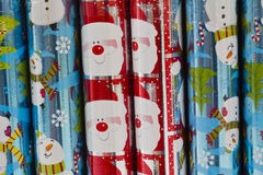 Christmas Wrapping Paper. On Display with Santa and Snowmen stock photo