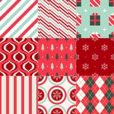 Christmas wrapping paper geometric background. Set of 9 retro Christmas different seamless patterns. Endless texture for wallpaper, web page background, wrapping Stock Images