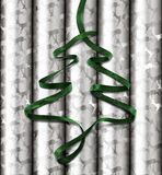 Christmas Wrapping Paper with Green ribbon on top Royalty Free Stock Photography