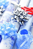 Christmas wrapping paper rolls Stock Photo