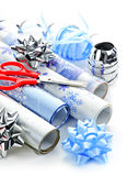 Christmas wrapping paper rolls Royalty Free Stock Image