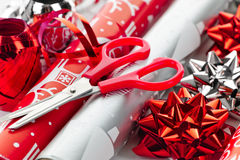 Christmas wrapping paper rolls Stock Photography