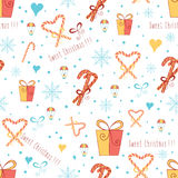 Christmas wrapping paper with Sweet Cane on the white background. Vector illustration. stock illustration